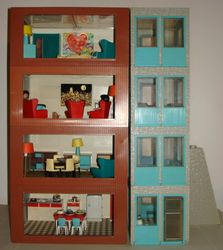 Jenny's Home 1965-71. Dimensions: Large room - 11 inches [28 cm] wide and 8.25 inches [21 cm] deep. (No height available). Small room - 5.5 inches [14 cm] wide and 8.25 inches [21 cm] deep. (Height not available).
