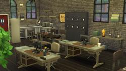 Staff workstations and kitchen
