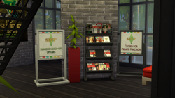 Magazine racks and floor signs