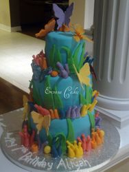 Water and Butterfly Themed Cake (B122)
