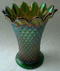 Diamond Point, squatty vase in emerald green