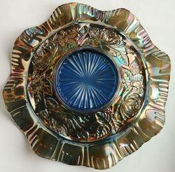 Sowerby Flora ruffled bowl, blue