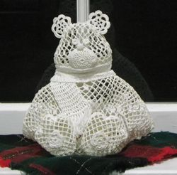 Window decorations - crocheted bear
