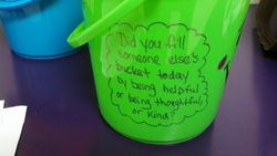 We decorated buckets to take home