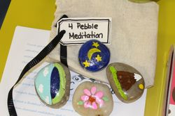 Our painted stones and bag