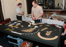 Temporary Scalextric stage