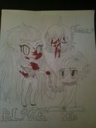 Blaze, Milo, and Tessa. With the blood colored in.