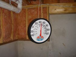 Thermometer showing temp. while digging.