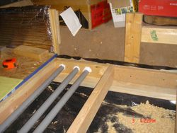 Contruction of flooring showing how the electrical conduit works