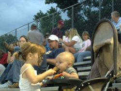 maddie feeding the grandson at the track