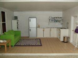 Living room/kitchen of basement flat.