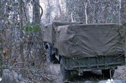 Convoy through woods defoliate with Agent Orange