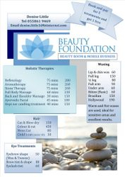 Treatment Price List for Hair & Beauty