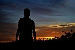 Teen at sunset