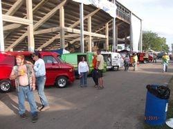 Vans Lined up under grandstand