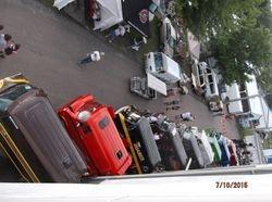 Line of Vans from top of grandstand