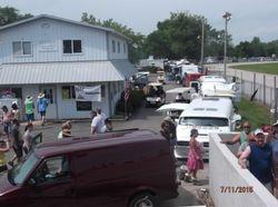 Vans parked at camp