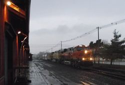 BNSF in a storm