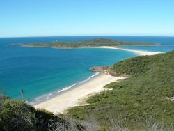 Looking down on Box Beach and Stephens Island from Quarry Hill