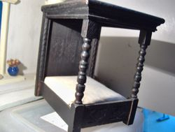 """Early Barton bed - note """"carving"""" on back and feet. Fitted mattress,"""