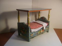 Handpainted bed 1950s