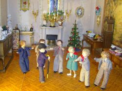 Sir Thomas was greeting guests in the upper drawing room,
