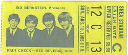 Shea Stadium ticket 1965