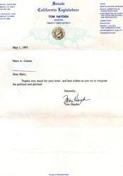 Tom Hayden letter