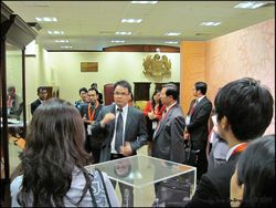 Inside the museum of Palace of Justice, briefing international delegates on Malaysian legal system