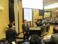 Briefing delegates at Conference Hall