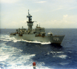 USS Miller passing to the port side