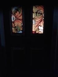 Detail of glass panels in front door