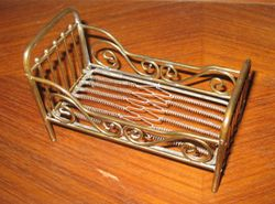 Brass bed showing the springs