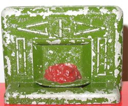 Jacqueline green metal coal fireplace