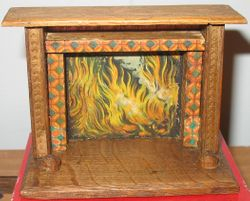 Wood and paper litho fireplace