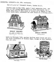 1929 & 1930 dolls houses in Marion's A-Z