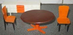 Linda orange and brown dining room set