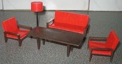 Linda red and brown living room set