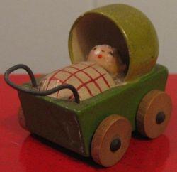 Tiny green wooden German pram - + baby!