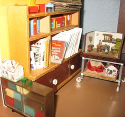 Close up of left side of study/dolls house room