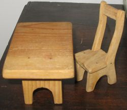 Pine table & chair, 1960s