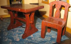 1920s homemade dining table & chair