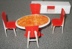 A red and white Linda dining set