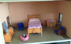 Jan's pink bedding in Alexandra Lodge