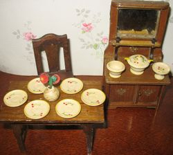 Treen dinner set with a simple design of cherries
