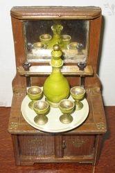 Turned wooden decanter & goblets