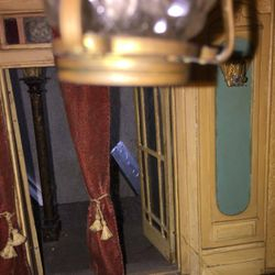 View of the metal sconce on the wall