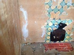 Kitchen tile wallpaper and brick floor paper