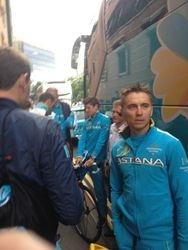 Team Astana arrive n Leeds