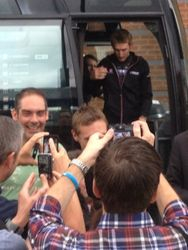 Frank Schleck enlighting from Tour bus